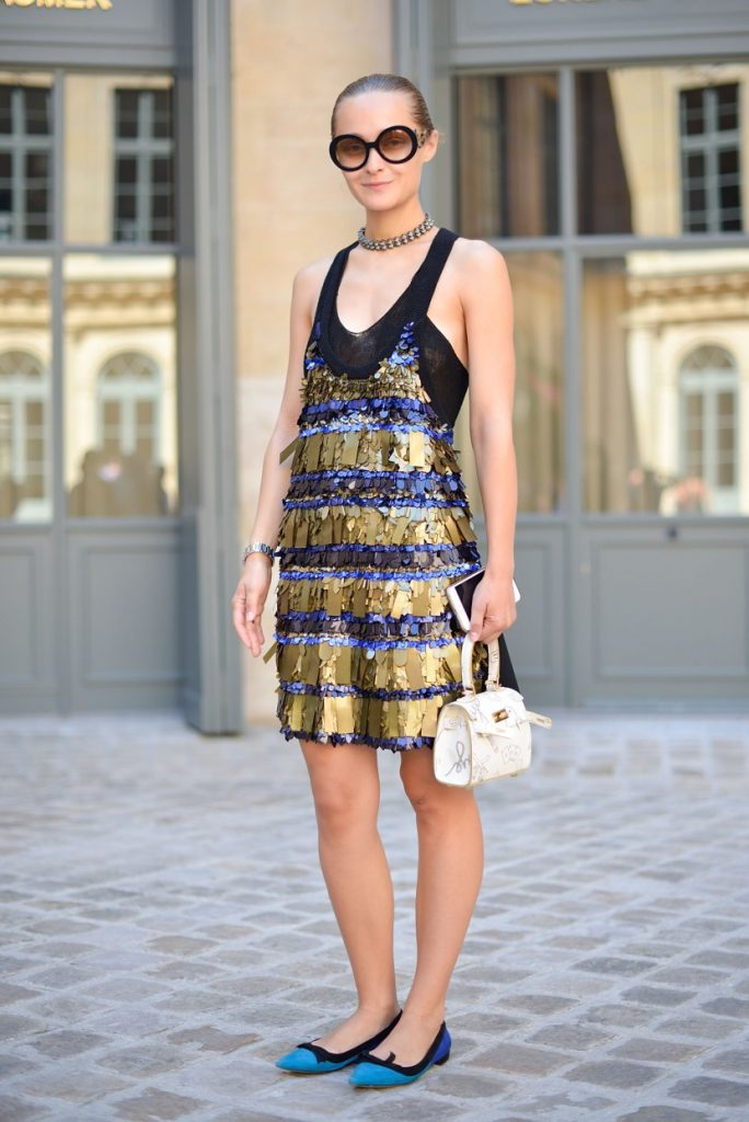PARIS, FRANCE - JULY 06: Daria Shapovalova poses wearing a Sonia Rykiel dress before the Schiapparelli show at Place Vendome on July 6, 2015 in Paris, France. (Photo by Vanni Bassetti/Getty Images)