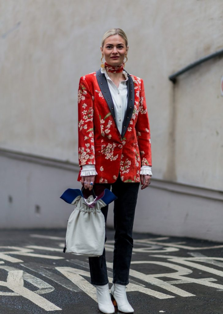 LONDON, ENGLAND, UNITED KINGDOM - February 22: Pandora Sykes wearing wearing a red blazer with floral print seen outside Erdem during London Fashion Week Autumn/Winter 2016/17 on February 20, 2016 in London, England, United Kingdom (Photo by Christian Vierig/Getty Images) *** Local Caption *** Pandora Sykes